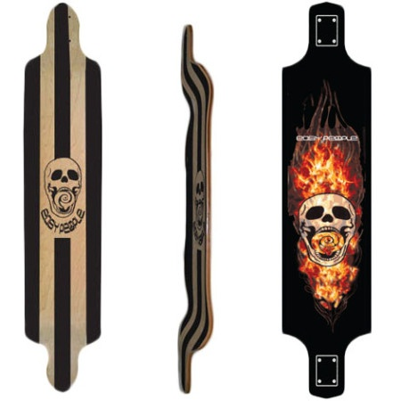 Easy People Longboards Drop Down Lowrider Longboard Deck DD-0- skull & flames