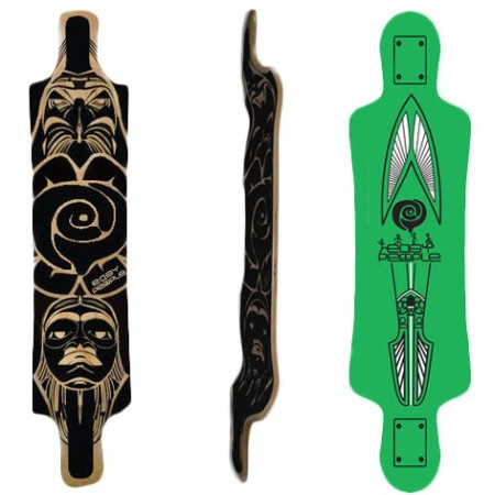Easy People Longboards Drop Down Lowrider Longboard Deck DD-3 green Arrow