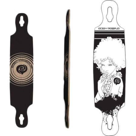 Easy People Longboards Drop Through Lowrider Longboard Deck DT-6- Afro Girl