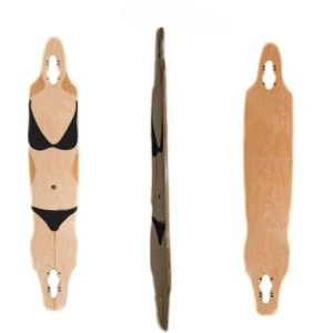 Easy People Longboards Pintail-Drop-Through Lowrider Longboard Deck DT-9-Blank Natural