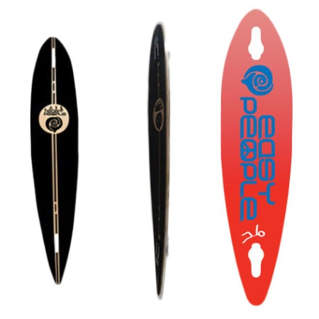Easy People Longboards Pintail-Drop-Through Lowrider Longboard Deck PDT-0-Push-Positive-Red