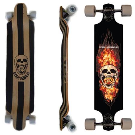 Easy People Longboards Drop Down Lowrider Longboard Complete DD-0 Skull & Flames