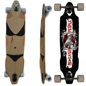 Easy People Longboards Drop Through Lowrider Longboard Complete DT-9 Graffiti Girl