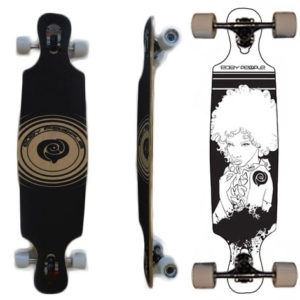 Easy People Longboards Drop Through Lowrider Longboard Deck DT-6 Afro Girl