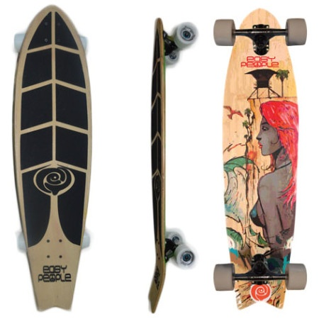 Easy People Longboards Pintail Kicktail Longboard Complete FT-1 Hawaiian Girl