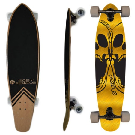 Easy People Longboards Pintail Kicktail Longboard Complete KT-0 Double Skull