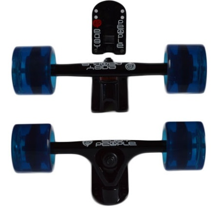 Easy People Longboards Truck Set Black Raccoon Trucks- Gel Speed Cruiser Wheels Blue
