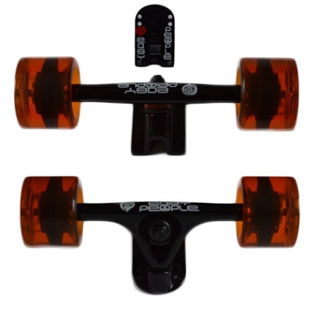 Easy People Longboards Truck Set Black Raccoon Trucks- Gel Speed Cruiser Wheels Orange