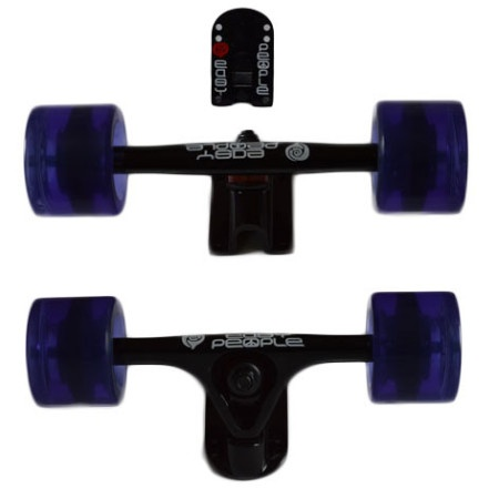Easy People Longboards Truck Set Black Raccoon Trucks- Gel Speed Cruiser Wheels Purple