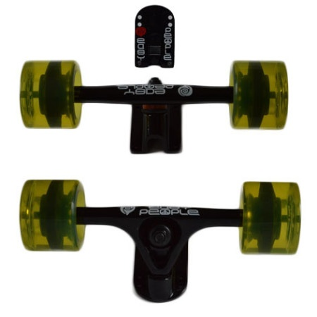 Easy People Longboards Truck Set Black Raccoon Trucks- Gel Speed Cruiser Wheels Yellow
