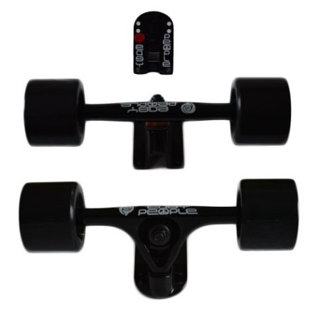 Easy People Longboards Truck Set Black Raccoon Trucks- Solid Speed Cruiser Wheels Black