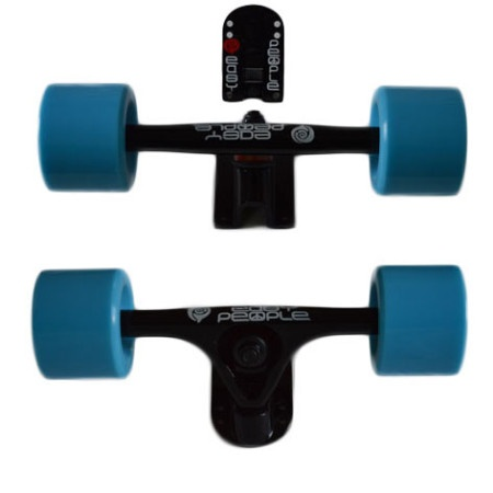 Easy People Longboards Truck Set Black Raccoon Trucks- Solid Speed Cruiser Wheels Blue
