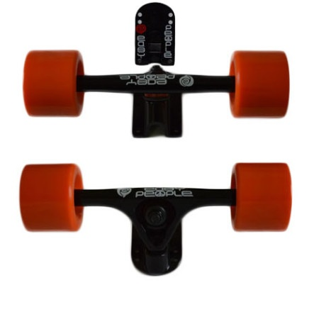 Easy People Longboards Truck Set Black Raccoon Trucks- Solid Speed Cruiser Wheels Orange