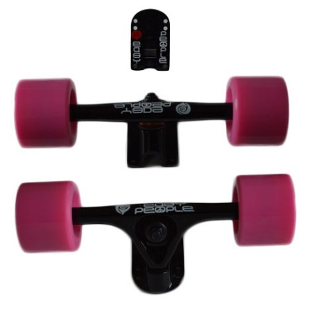 Easy People Longboards Truck Set Black Raccoon Trucks- Solid Speed Cruiser Wheels Pink2