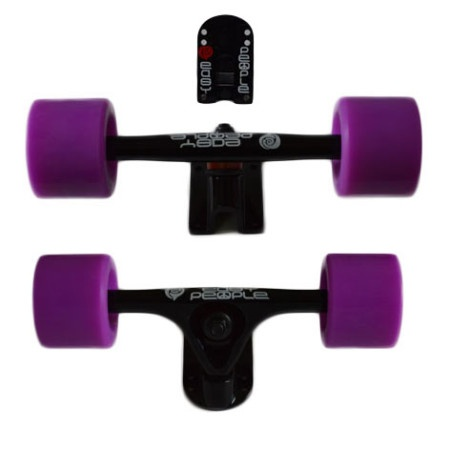 Easy People Longboards Truck Set Black Raccoon Trucks- Solid Speed Cruiser Wheels Purple