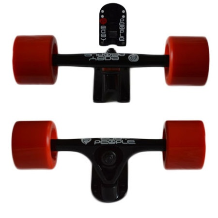 Easy People Longboards Truck Set Black Raccoon trucks- solid speed cruiser wheels Red