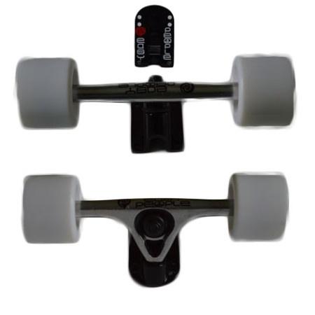 Easy People Longboards Truck Set Silver Raccoon Trucks- Solid Speed Cruiser Wheels White