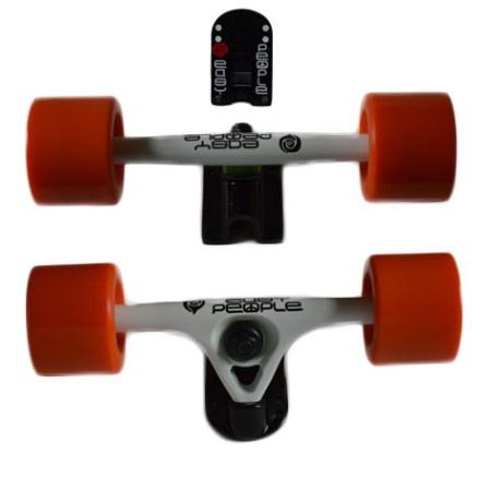 Easy People Longboards Truck Set WHite Raccoon Trucks- Solid Speed Cruiser Wheels Orange
