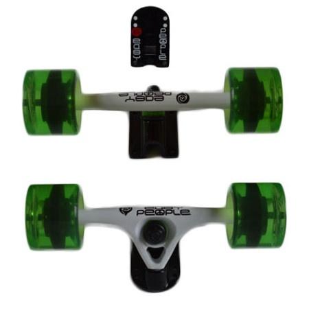 Easy People Longboards Truck Set White Raccoon Trucks- Gel Speed Cruiser Wheels Green