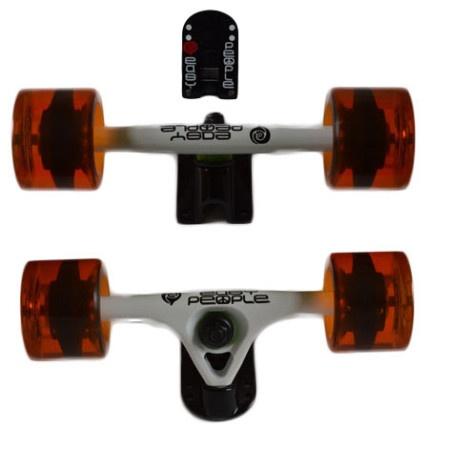 Easy People Longboards Truck Set White Raccoon Trucks- Gel Speed Cruiser Wheels Orange