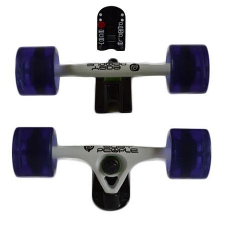 Easy People Longboards Truck Set White Raccoon Trucks- Gel Speed Cruiser Wheels Purple