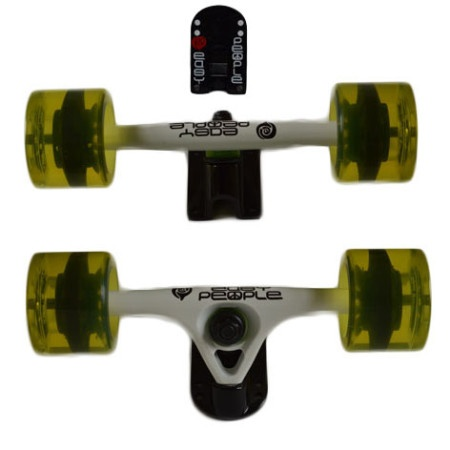 Easy People Longboards Truck Set White Raccoon Trucks- Gel Speed Cruiser Wheels Yellow