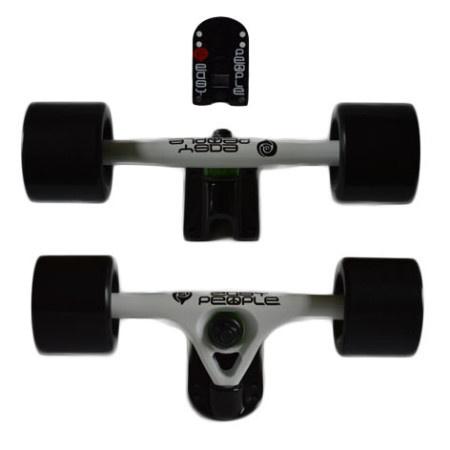 Easy People Longboards Truck Set White Raccoon Trucks- Solid Speed Cruiser Wheels Black
