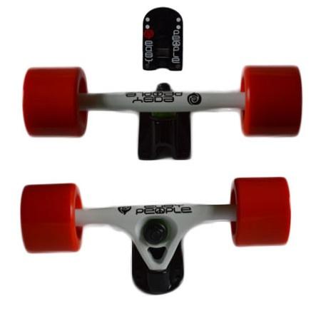 Easy People Longboards Truck Set White Raccoon Trucks- Solid Speed Cruiser Wheels Red