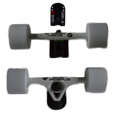 Easy People Longboards Truck Set White Raccoon Trucks- Solid Speed Cruiser Wheels White
