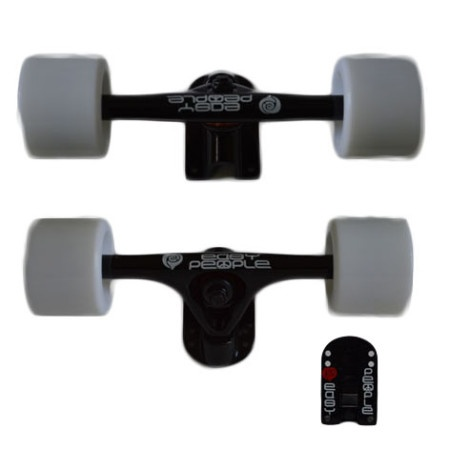 Easy People Longboards Truck Set black raccoon trucks- solid speed cruiser wheels white