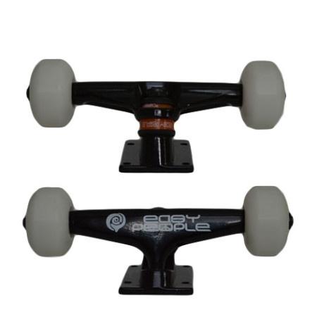 Easy People Skateboards Black Beaver Skateboard Truck Set & White Wheels
