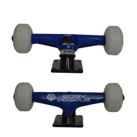 Easy People Skateboards Blue Beaver Skateboard Truck Set & White Wheels