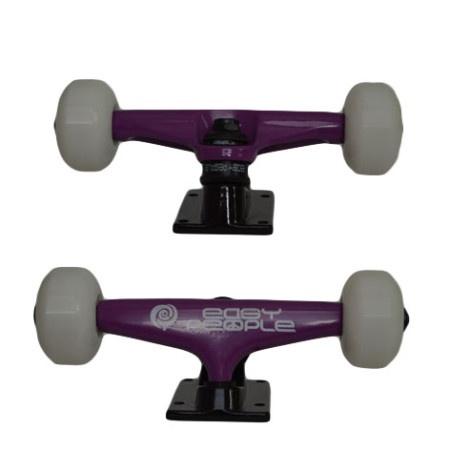 Easy People Skateboards Purple Beaver Skateboard Truck Set & White Wheels