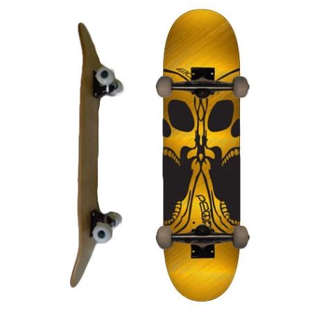 Easy People Skateboards SB-2 Complete Skateboard Decks-Gold-Double-Skull