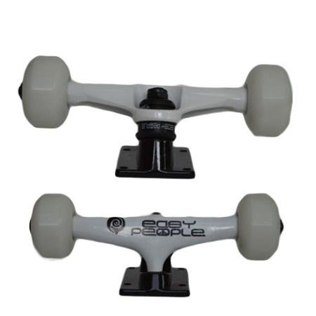 Easy People Skateboards White Beaver Skateboard Truck Set & White Wheels