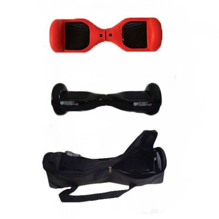 Easy People Hoverboard Black Two Wheel Self Balancing Motorized Scooters With Red Silicone Case + Bag