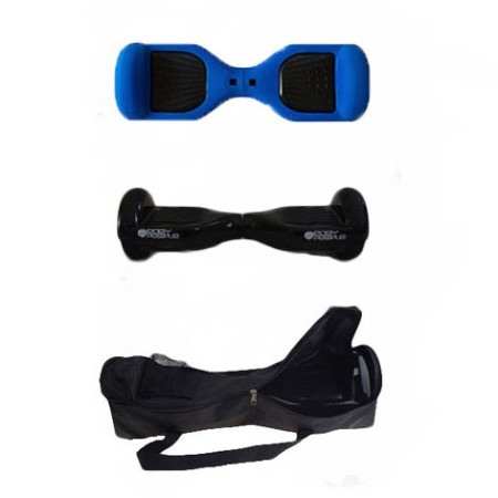 Easy People Hoverboard Black Two Wheel Self Balancing Motorized Scooters With Blue Silicone Case + Bag