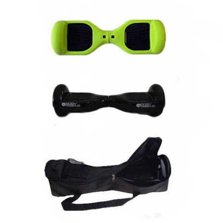 Easy People Hoverboard Black Two Wheel Self Balancing Motorized Scooters With Green Silicone Case + Bag