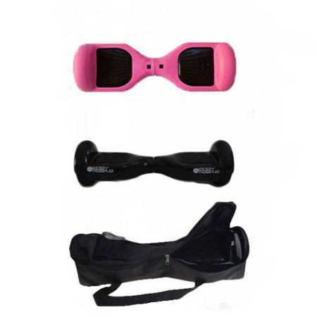 Easy People Hoverboard Black Two Wheel Self Balancing Motorized Scooters With Pink Silicone Case + Bag