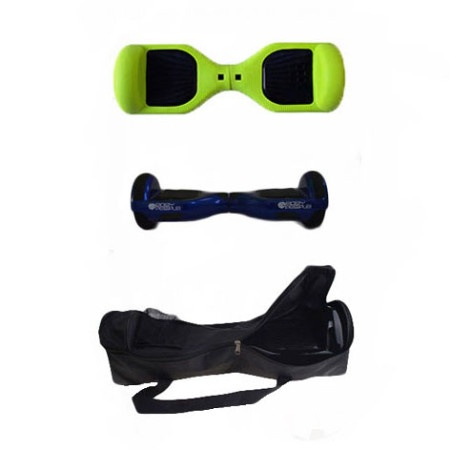 Easy People Hoverboard Blue Two Wheel Self Balancing Motorized Scooters With Green Silicone Case + Bag