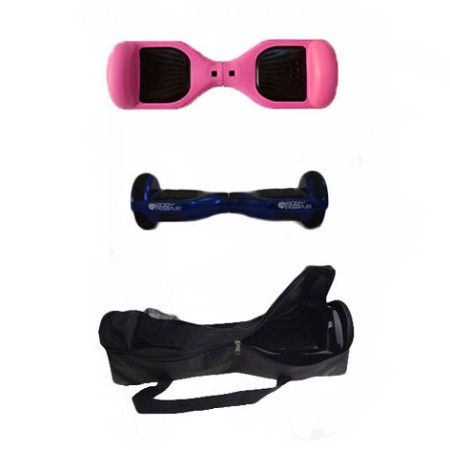 Easy People Hoverboard Blue Two Wheel Self Balancing Motorized Scooters With Pink Silicone Case + Bag