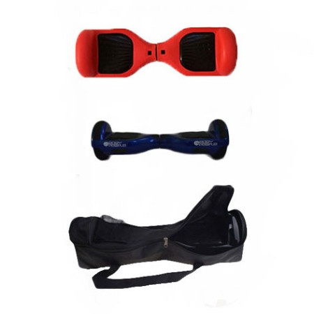 Easy People Hoverboard Blue Two Wheel Self Balancing Motorized Scooters With Red Silicone Case + Bag