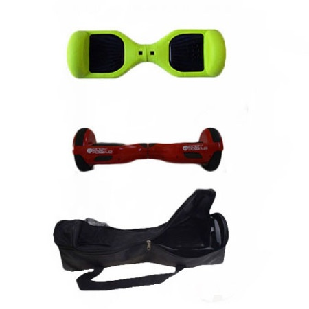 Easy People Hoverboard Red Hoverboard With Green Silicone Case + Bag