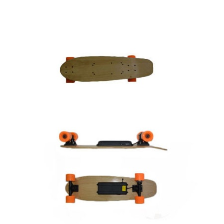 Easy People Skateboards e-skateboard top- side-bottom view