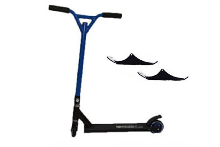 Easy People Stunt Scooter Cross Colors Blue Handlebar with Black Deck with Skis