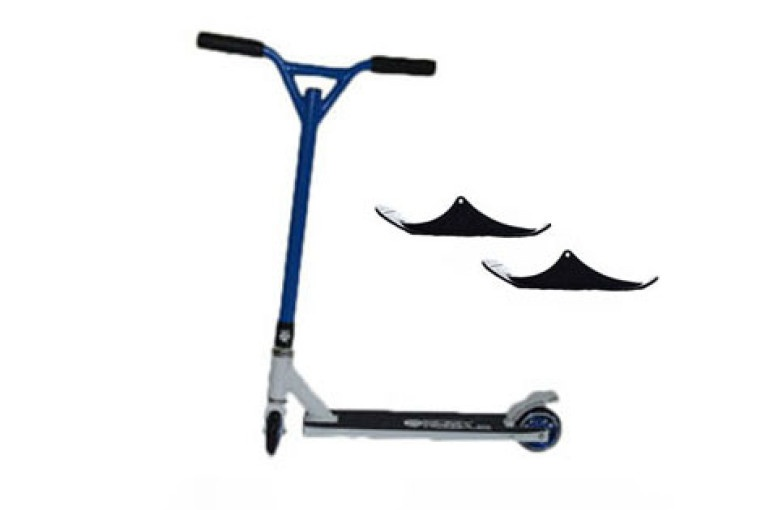 Easy People Stunt Scooter Cross Colors Blue Handlebar with White Deck with Skis