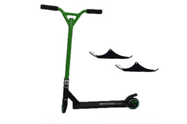 Easy People Stunt Scooter Cross Colors Green Handlebar with Black Deck with Skis
