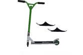Easy People Stunt Scooter Cross Colour Green Handlebar Stunt Scooter With White Deck & Ski Attachment