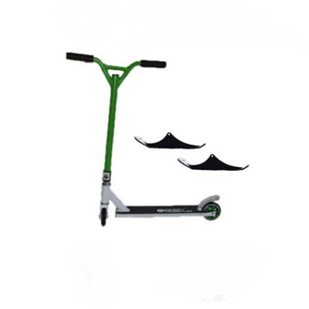 Easy People Stunt Scooter Cross Colors Green Handlebar with White Deck with Skis