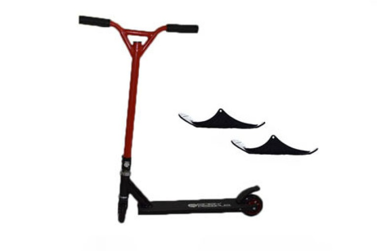 Easy People Stunt Scooter Cross Colors Red Handlebar with Black Deck with Skis